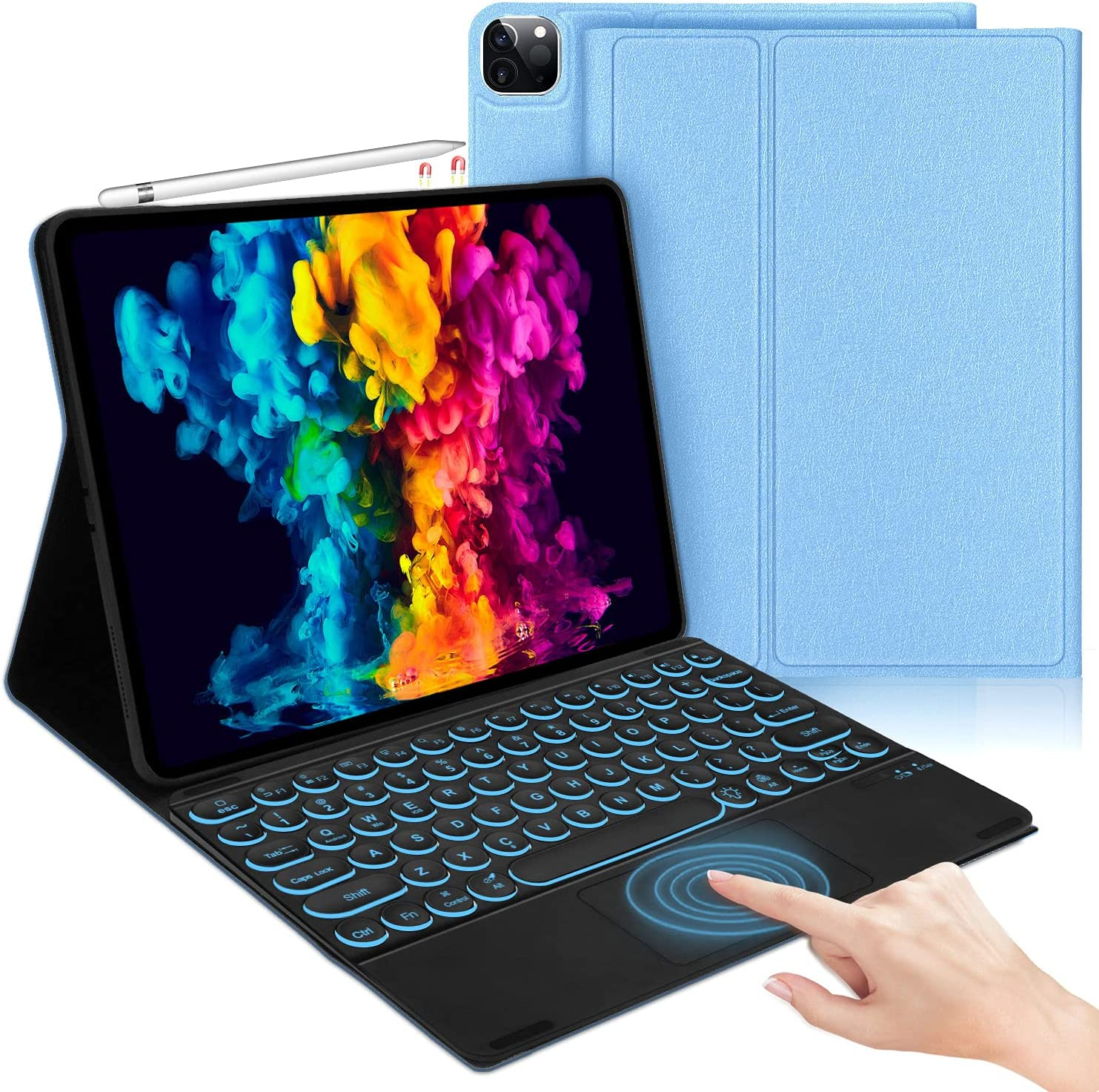 iPad Pro 12.9 Case with Keyboard 2021, Compatible with iPad Pro 12.9 inch 5th / 4th / 3rd Generation - Smart Touchpad - Detachable 7 Colors Backlit Keyboard - Smart Folio Cover for iPad Pro 12.9, Blue