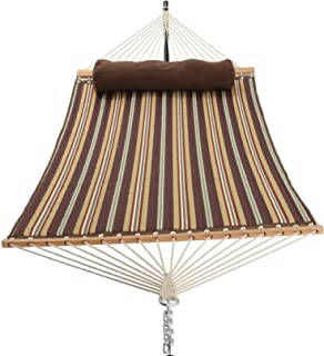 PATIO WATCHER 11 Feet Quilted Fabric Hammock with Pillow, Double Hammock with Bamboo Wood Spreader Bars, Perfect for Outdoor Patio Yard, Brown Stripes