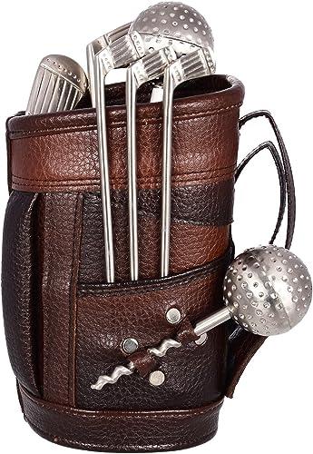 MSA JEWELS Lavanaya Silver Stainless Steel Golf Bar Set with Beautiful Leatherette Bag