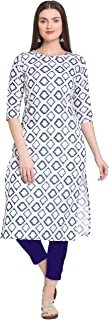 ANNI DESIGNER Women's White Cotton Straight Calf Length Block Printed Kurti