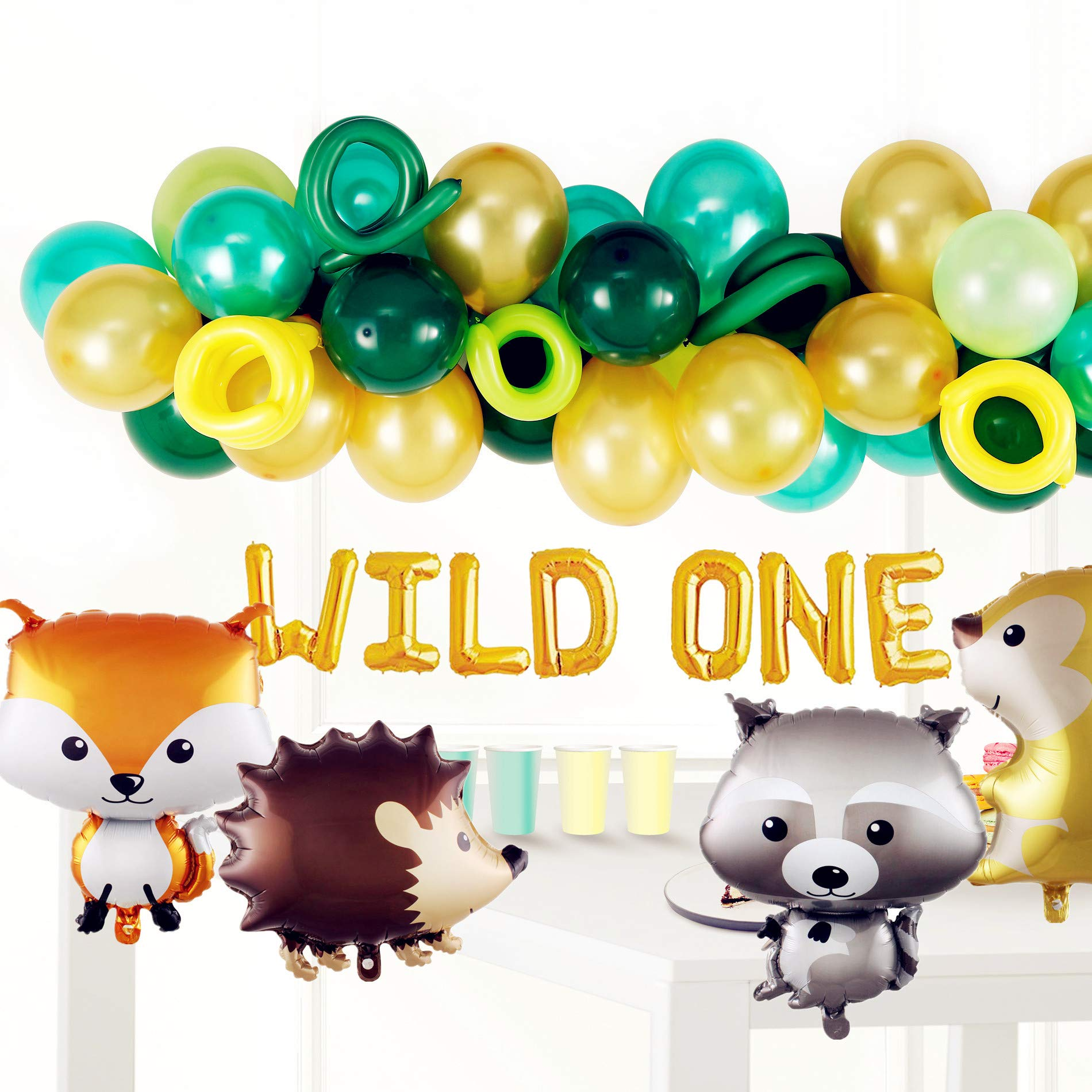 Wild One 1st First Theme Birthday Baby Shower Decorations for Boys Girl Balloons for Birthday Party Jungle Safari Tropical Theme Sage Green Balloons Baby Shower Party Supplies Decorations Decor