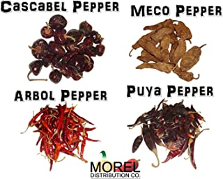Mixture of Dried Chili Peppers: Arbol, Cascabel, Meco, & Puya (8 oz & 1 Lb) (8 oz)
