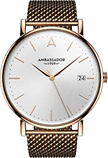 Ambassador Luxury Watch for Women - Heritage 1959 Gold Case with Gold Mesh Strap with Swiss Quality