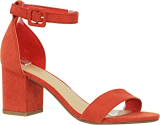3b3ff7f077410 MVE Shoes Women s Open Toe Single Band Buckle Ankle Strap Chunky Low Mid  Block Heel Sandal