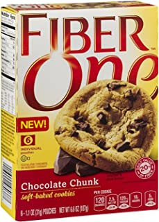 General Mills, Fiber One, Soft Baked Cookies, Chocolate Chunk, 6.6oz Box (Pack of 4)