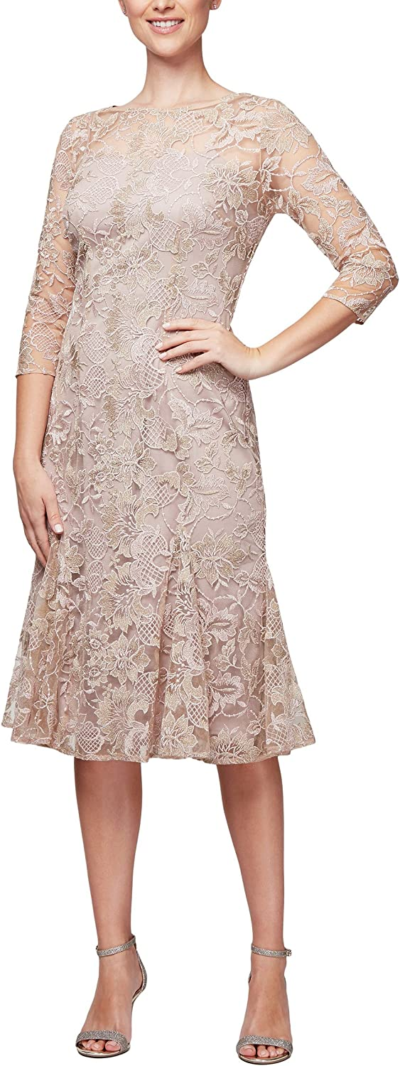 Alex Evenings Womens PlusSize Midi Length Fit and Flare Special Occasion Dress