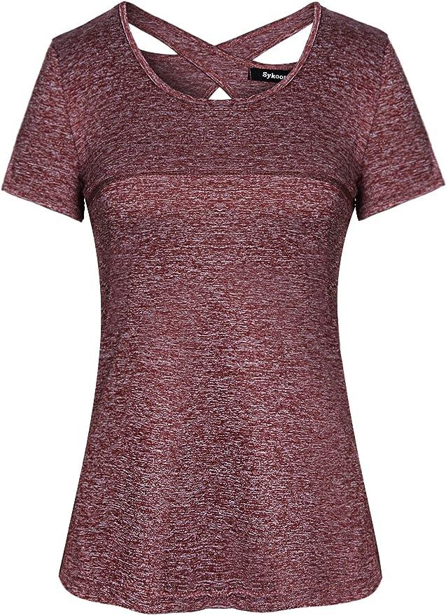 1198 opiniones para Sykooria Camiseta Deportiva Mujer Fitness de Manga Corta Tops de Yoga Camiseta