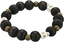Bastille Natural Wood and Skull Bracelet