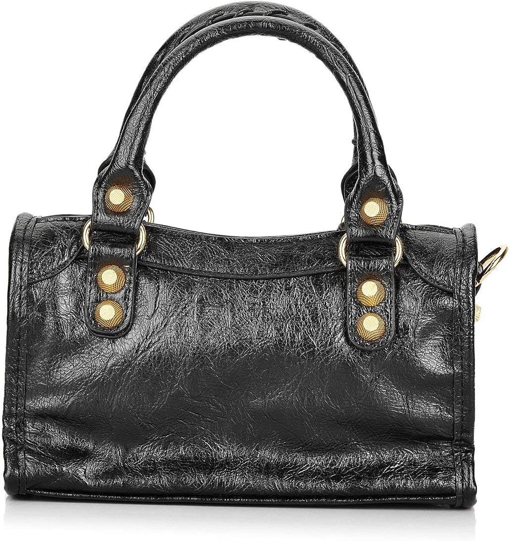 goldTech Women Leather Big gold color Studed Motorcycle Bags 38cm Medium Size Shoulder Bag 2 colors