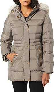 Anne Klein Women's Down Jacket with Faux Fur Trimmed Hood