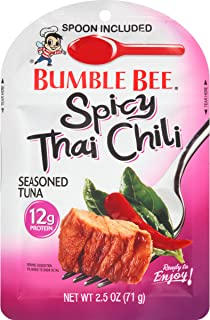BUMBLE BEE Spicy Thai Chili Seasoned Tuna Pouch with spoon, Gluten Free, High Protein, Bulk Snacks, 2.5 Ounce Pouches (Pack of 12)