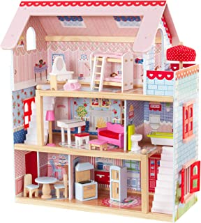 Kidkraft Chelsea Doll Cottage Wooden Dolls House with Furniture and Accessories Included (3 Storey Play Set for 30 cm/12 I...