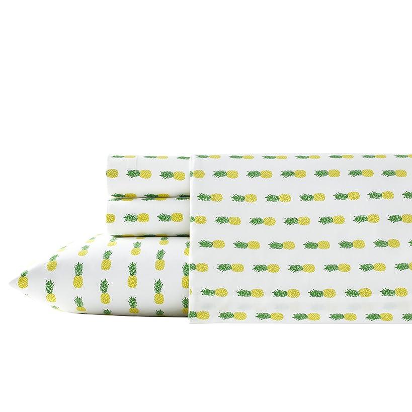 Poppy & Fritz Pineapples Cotton Sheet Set, Queen, Yellow/Green
