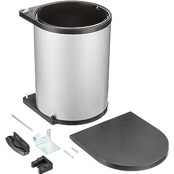 Plata//Antracita 2 Compartimentos de 15 L Cubo de Basura Integrado Wesco 12871