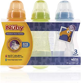 Nuby 3-Pack Non-Drip Standard Neck Bottles (Orange/Green/Aqua)