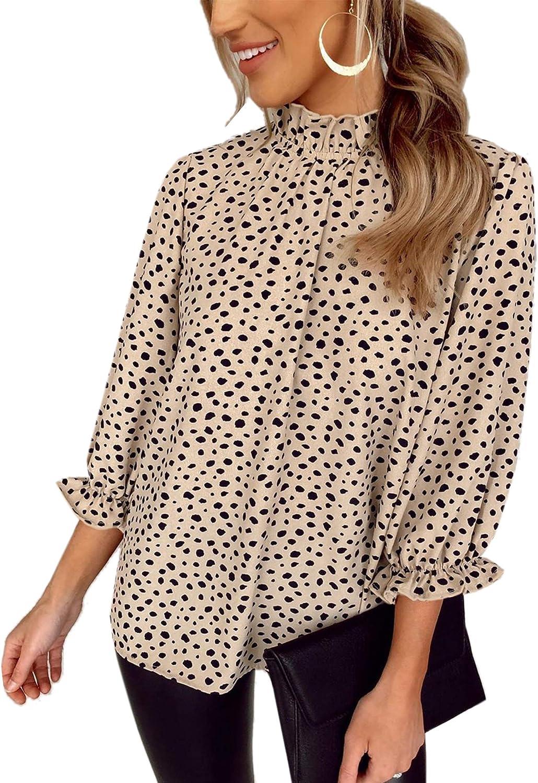 Angashion Women's Tops Casual Floral Print Long Sleeve Ruffle Loose Babydoll Blouse Shirt Tunic Top