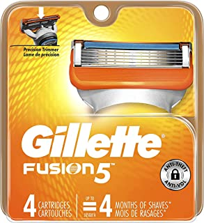 Gillette Fusion Razor Refill Cartridges -Made in USA -(4 Cartridges)