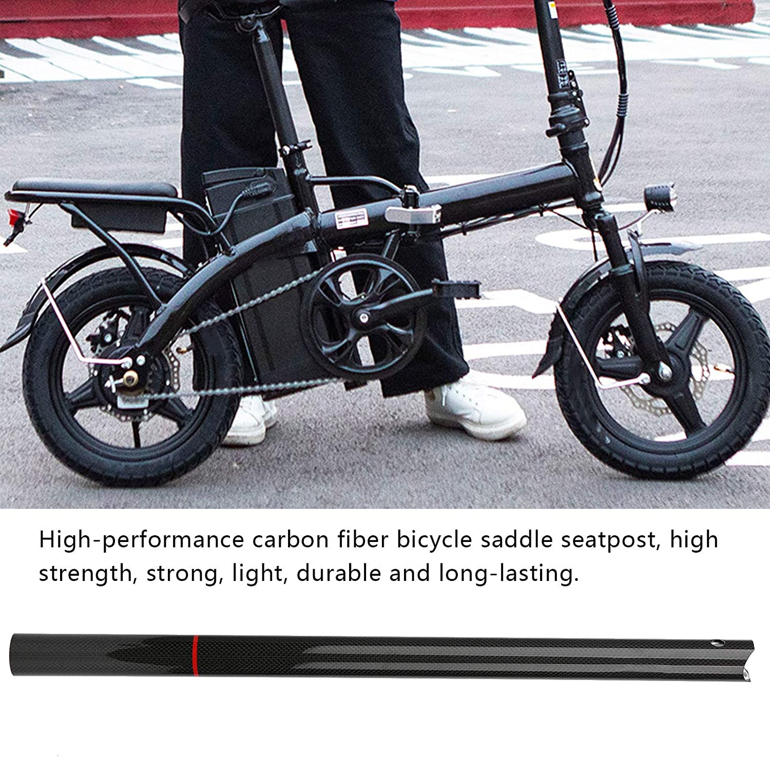 Carbon Seatpost 33.9 580mm Bike Seatpost Suitable for Most Bicycle Folding Bike