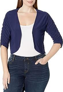 Star Vixen Women's Plus-Size Rouched Sleeve Bolero Sweater