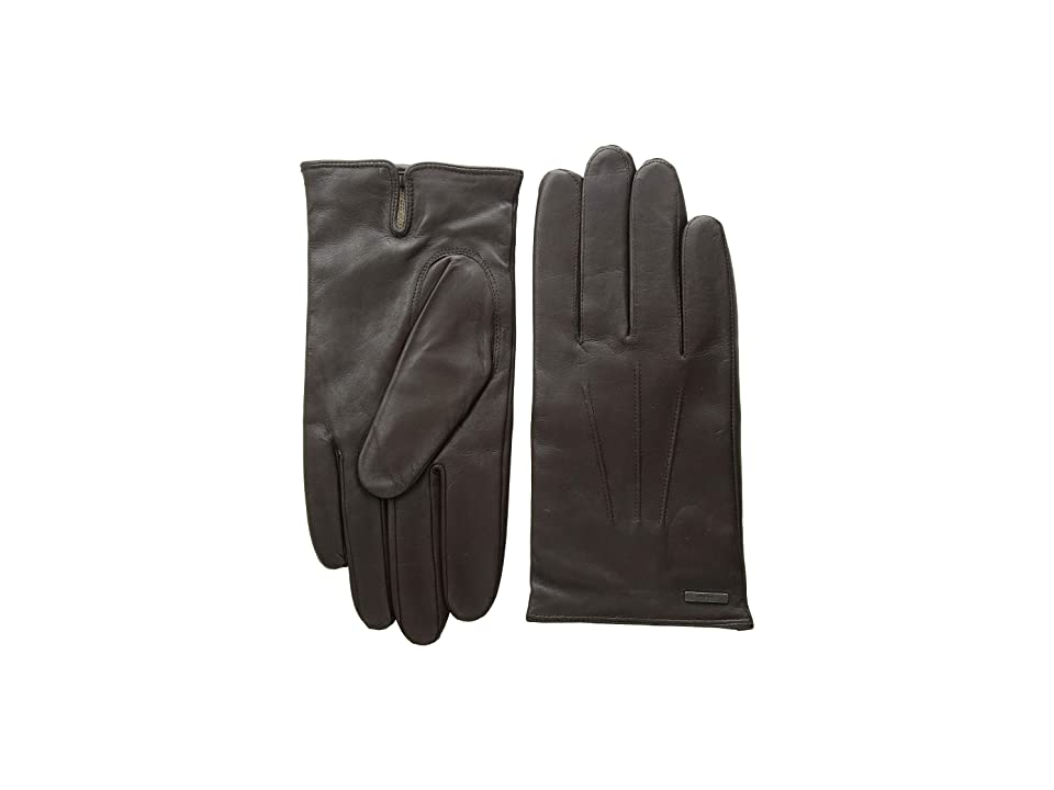 BOSS Hugo Boss Hainz Leather Gloves (Dark Brown) Over-Mits Gloves