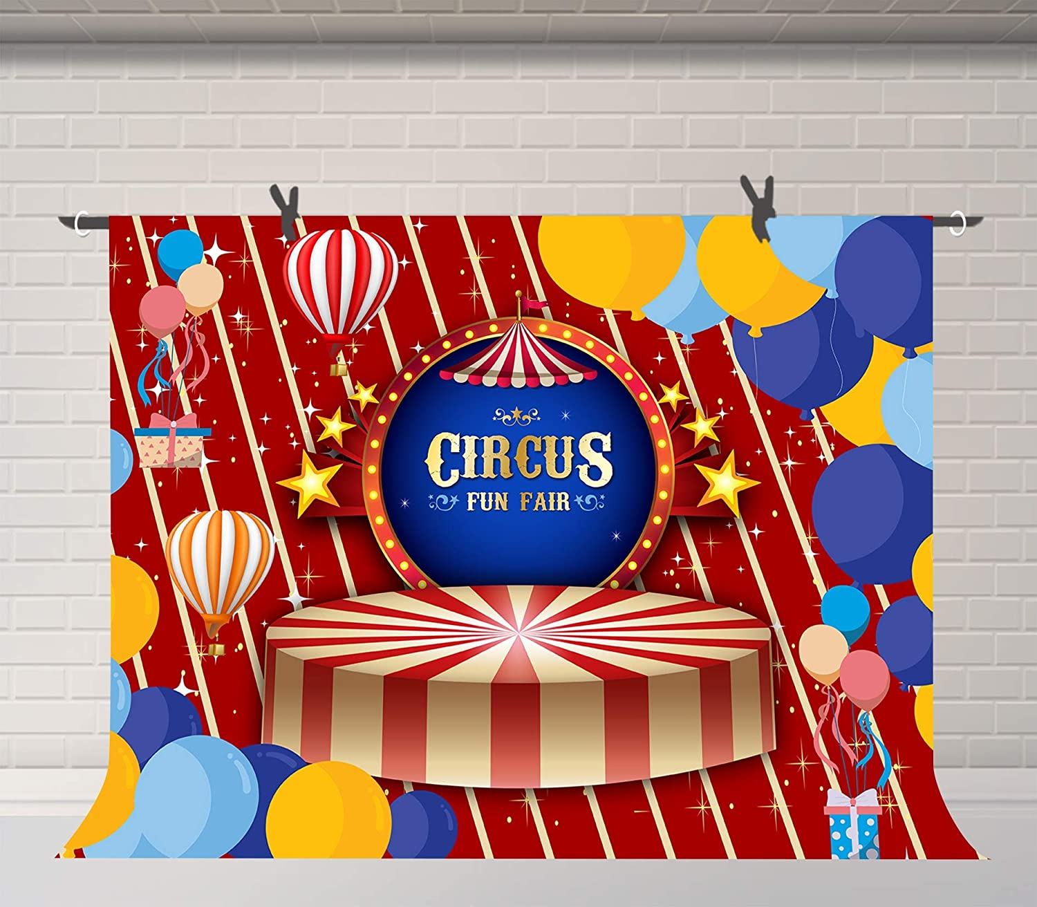 10x6.5ft Circus Clown Photography Backdrop Carnival Photos Booth Background Props Murals WQFU085