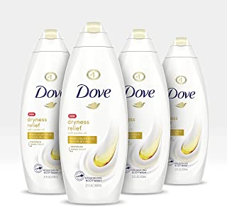 Dove Body Wash For Dry Skin Dry Oil Moisture Sulfate-Free Bodywash With Moroccan Argan Oil, 22 Fl Oz, Pack of 4