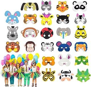 Hossom 25 Mascarillas de Espuma EVA para Niños, Máscaras de Animales de Espuma, Mascarilla Animal, Foam Animal Masks para Bolsas de Fiesta, Fiesta de Cumpleaños, Navidad, Halloween