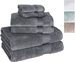 Towels Beyond Luxury 6 Piece Bath Towel Set - Quick Dry Hotel and Spa Soft Cotton Linen Made with 100% Turkish Cotton (Grey)