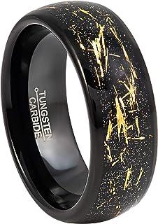 خاتم زفاف من كربيد التنجستن الأسود للرجال مع ميتورايت تقليد براق - 2 لون الذهب رقائق نمط انلاي تونجسين الذكرى