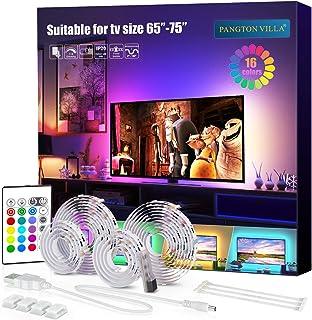 PANGTON VILLA Led Strip Lights, 14.3ft for 65-75in TV, USB LED TV Backlight Kit with Remote - 16 Color Changing 5050 LEDs Bias Lighting for HDTV (Renewed)