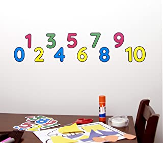 StikArt Numbers Zero to Ten Wall Decals in a Sequence of Blue, Red, Yellow and Green Colors