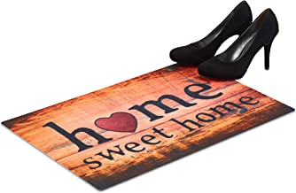 Relaxdays Home Sweet Home Doormat, 60 x 40 cm Dirt Catcher, Non-Slip Rug for Indoors and Outdoors, Colourful