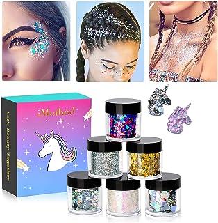 iMethod Body Glitter - 6 Jars Holographic Cosmetic Face Glitter, for Festival & Halloween Alien Makeup