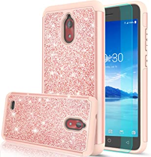 Coolpad Illumina Case (3310A) with HD Screen Protector for Girls Women, LeYi Glitter Bling Dual Layer Hybrid Shockproof Phone Case for Coolpad Illumina 3310A (2018) TP Rose Gold