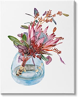 Stupell Industries Blooming Protea Floral Bouquet Watercolor Flower Still Life, Design by Melissa Wang Canvas Wall Art, 16 x 20, White