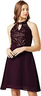 Miss Chase Women's Flowy Sequin Georgette Skater Dress