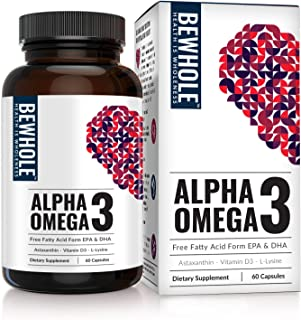 Alpha Omega 3: Omega 3 EPA & DHA with 95% Absorption Rate & Zero Burps– 4.5 Times More Effective Than Fish Oil – Plus Contains Astaxanthin, L-Lysine, Vitamin D3 & Vitamin B12