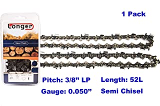 "14 Inch Chainsaw 3/8"" LP Pitch 0.050`` Gauge Semi Chisel Sawchain 52 Drive Links Fits Husqvarna Echo Poulan Pro Craftsman"