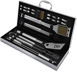 Home-Complete HC-1000 BBQ Accessories – 16PC Grill Set with Spatula, Tongs, Skewers, Case – Barbecue Tools for Father's Day, Wedding, Anniversary, 16 Piece, Silver