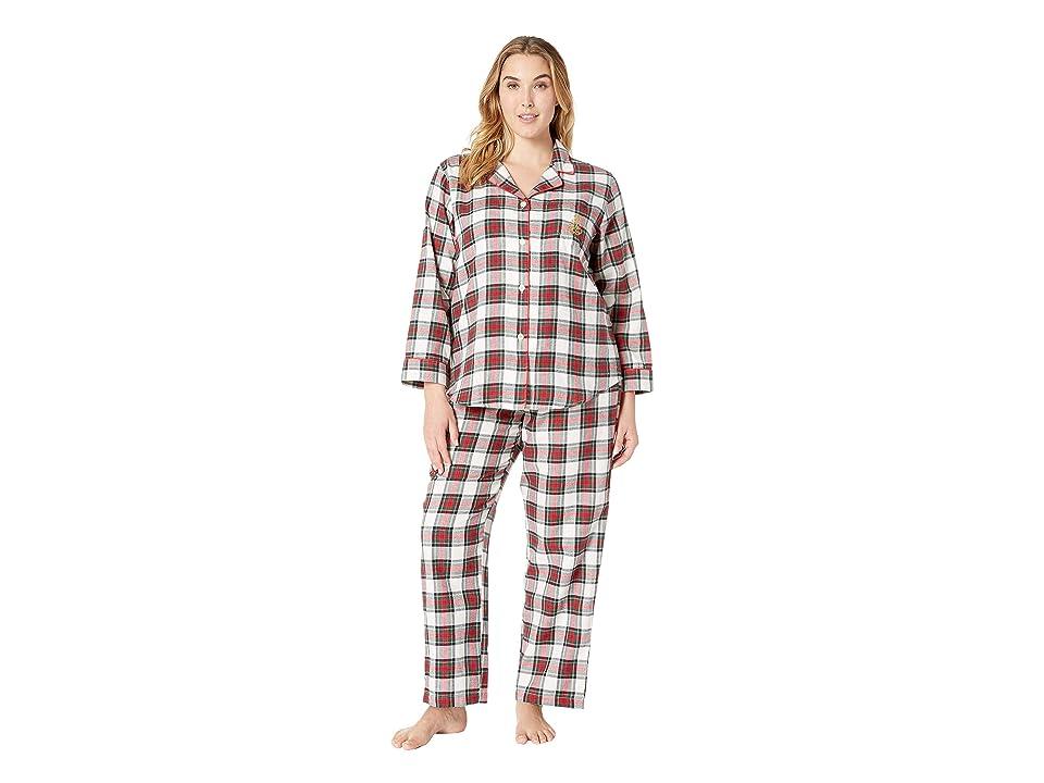 LAUREN Ralph Lauren Plus Size Brushed Twill Long Sleeve Classic Notch Collar Pajama Set (Ivory Plaid) Women