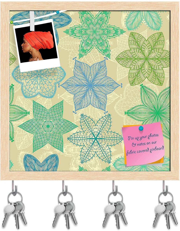 Artzfolio Vintage Ornate Flowers Key Holder Hooks   Notice Pin Board   Natural Brown Frame 20 X 20Inch