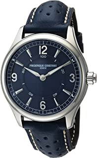 Men's Horological Smart Watch Stainless Steel Swiss-Quartz Leather Calfskin Strap, Blue, 21 (Model: FC-282AN5B6)