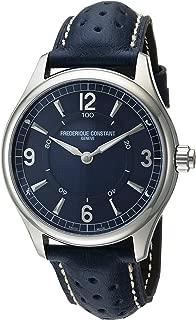 Frederique Constant Men's Horological Smart Watch Stainless Steel Swiss-Quartz Leather Calfskin Strap, Blue, 21 (Model: FC-282AN5B6)