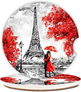 Eiffel Tower Ceramic Cup Holders Car Coasters for Women/Men,Absorbent Drink Cup Car Holder Coasters with A Finger Notch 2....