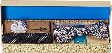 Original Penguin Men's Sommers 3-Piece Floral Tie, Pocket Square & Lapel Pin Box, black, One Size