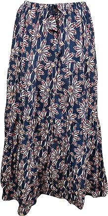 Mogul Interior Gothic Skirts Blue Printed Designer Crinkle Flare Bohemian Maxi Skirts