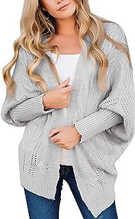 Utyful Women's Casual Long Dolman Sleeves Loose Knit Open Front Cardigan Sweater