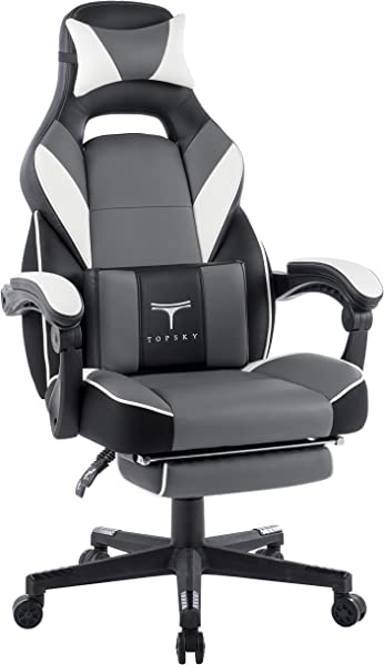 TOPSKY High Back Racing Style PU Leather Executive Computer Gaming Office Chair Ergonomic Reclining Design With Lumbar Cushion Footrest And Headrest New Black Gray