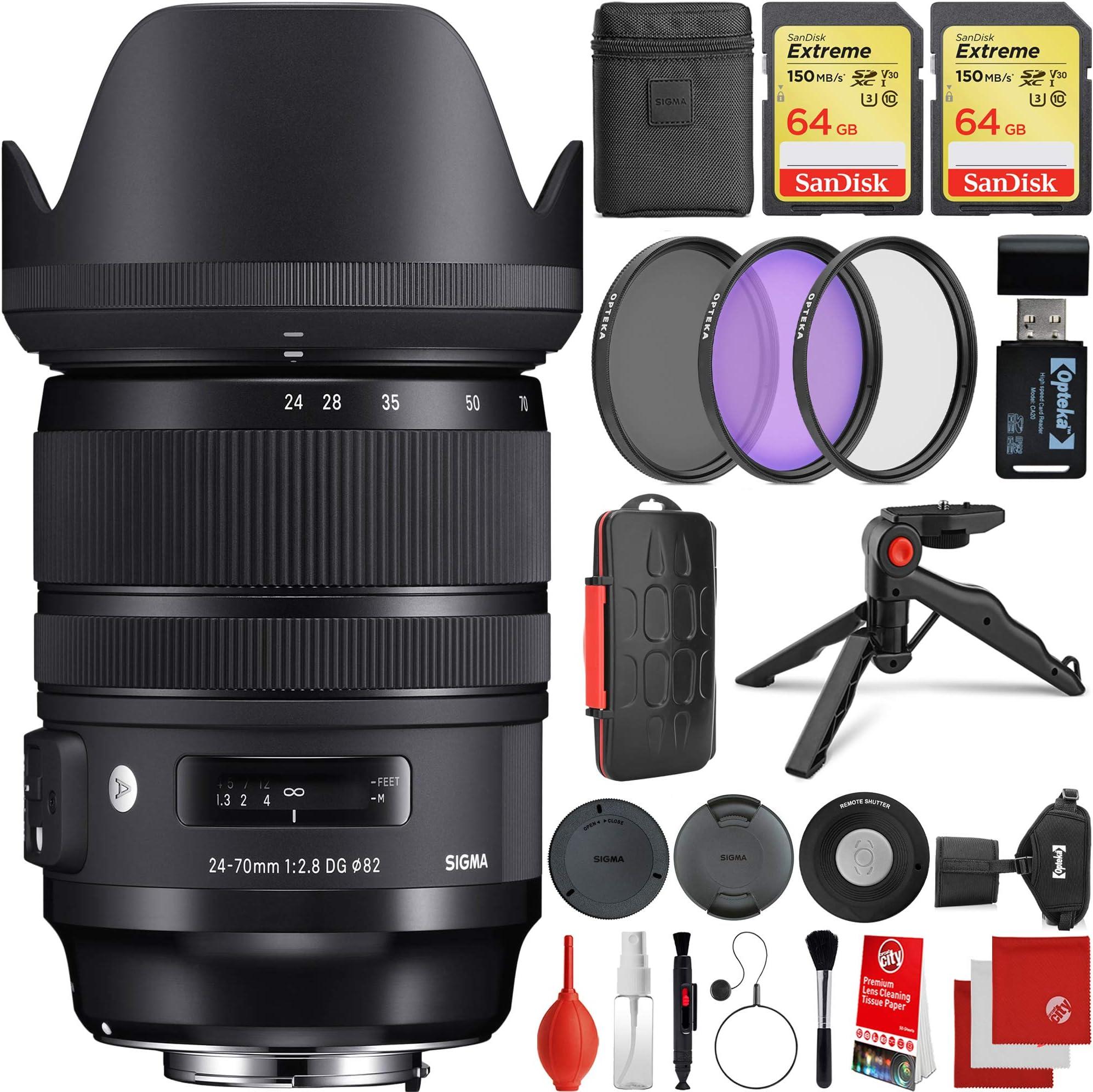 Sigma 24-70mm f/2.8 DG DN Art Lens Sony E-Mount Bundle, 2X 64GB Memory Cards, IR Remote, 3 Piece Filter Kit, Wrist Strap, Card Reader, Memory Card Case, Tabletop Tripod