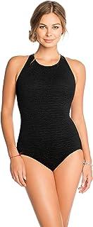 Penbrooke Women's Krinkle Chlorine-Proof Mastectomy High Neck Maillot One Piece Swimsuit,Black,12